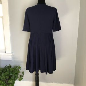 Anthropologie Dresses - Anthropologie Maeve Navy Blue Lace Up Dress sz L